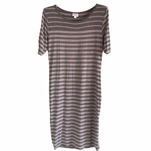 LulaRoe Espresso & Gray Striped Dress M
